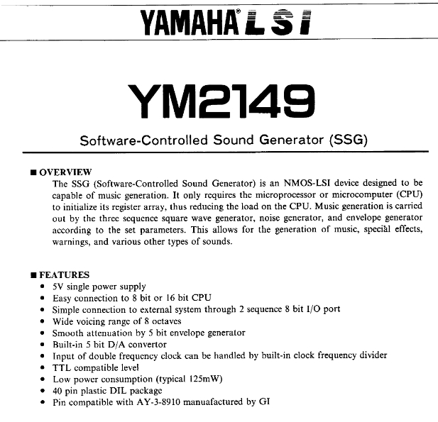 YAMAHA YM2149 Software Controlled Sound Generator