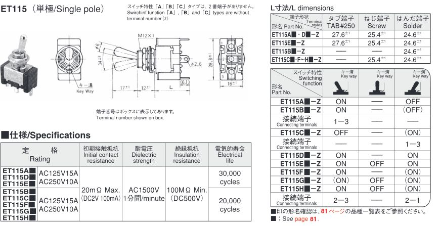 2P ON-OFF125VAC 15A トグルスイッチ フジソク ET115A12